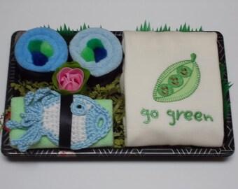 Baby Boy Sushi & Onesie Baby Shower Gifts - Go Green Pea