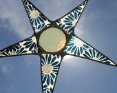 Blue Marguerite Star  9 inch lacquered glass star