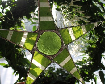 Spring Green Stripes - 9 inch lacquered glass star