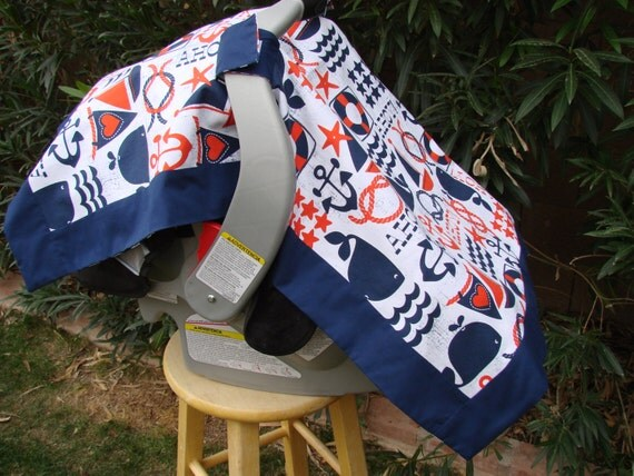 Baby Car Seat Canopy Navy Blue Nautical and Chevron