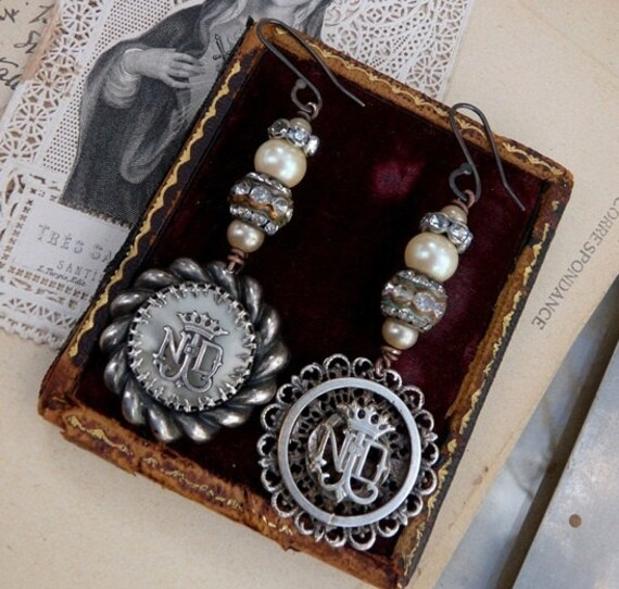 RESERVED LISTING:  Antique French Lourdes Earrings, The Notre Dame, by RusticGypsyCreations
