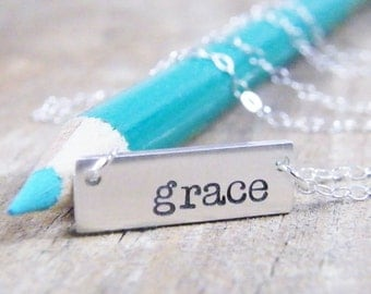 grace minimalist hand stamped necklace in sterling silver brushed finish