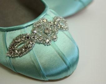 Wedding Shoes - Ballet Flats - Wedding Shoe Flats - Aqua Blue Wedding Shoe - Blue Flats - Blue Ballet Slipper - Aqua Wedding - Wedding Flats