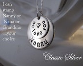Nickel Silver Two-Stack Nanny Brag Keepsake Necklace - Great Gift for Nanny, Nana or Grandma