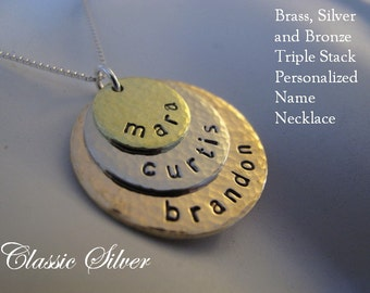 Custom 3 Stacked Brass, Silver and Bronze Family Name Necklace with a Hammered Finish