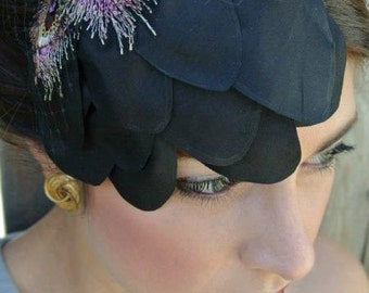 The JOYCE - black headpiece, black fascinator, black veiling, black birdcage, black hat, purple detail