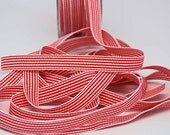 Striped Grosgrain Ribbon -- 1 / 2 inches -- Red White 3 yds
