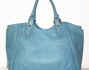 Light Blue Leather Tote--Bag - Hand bag - Julia xl ...