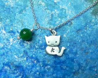 Personalized cute cat necklace in sterling silver with birth stone and monogram