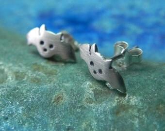 Cute bat sterling silver earring post studs - Halloween jewelry