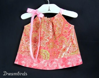 Vintage Inspired Baby Dress and Bloomers  - Peach and Coral - Infant Swing Dress and Bloomers Outfit - Size Newborn, 3m, 6m, 9m, 12m or 18m