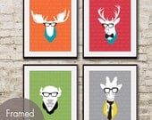 Animal Heads - Set of 4 - Art Print (Featured in Assorted Colors) Moose, Deer, Buffalo and Giraffe Heads with Glasses