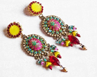 yellow sun chandeliers earrings bright colors with green and red