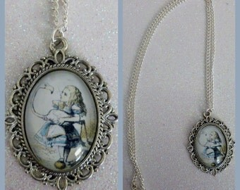 Alice in Wonderland Flamingo Inspired Cameo Necklace
