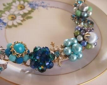 Shades of Blue Upcycled Bracelet