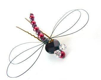 Dragonfly Hair Pin - Garnet and Red Pearl Oxidized Sterling Silver - Dragonfly Jewelry -Tagt Team