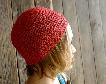 Linen Hat, Crochet Beanie - Salmon Pink, Coral Red, Neon Pink  - Minimal Unisex - Summer Hat Beach Fashion Accessories