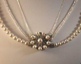 Three Strand Freshwater Pearl Wedding Bridal Necklace w/Swarovski Crystals & Sterling Silver Chain