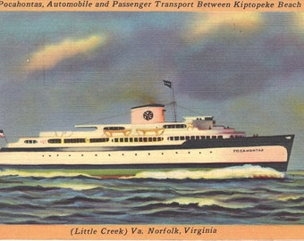 SS Pocahontas - Ferry - Virginia - Vintage Postcards - 1950s Memorabilia