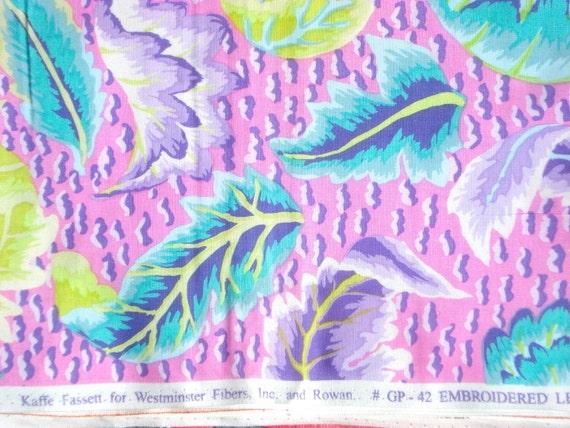 Kaffe Fassett Embroidered Leaf pink Westminster Rowan Fabrics FQ or more