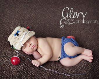 Baby Boy, The original Fishing Set,  Hat & Diaper cover Newborn Photo prop