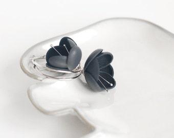 SALE 10% OFF Leather earring in dark grey