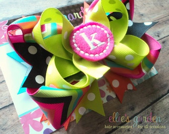 Monogrammed Personalized Initial Boutique Style Hair Bow Pink Lime Green Aqua Orange Black Chevron