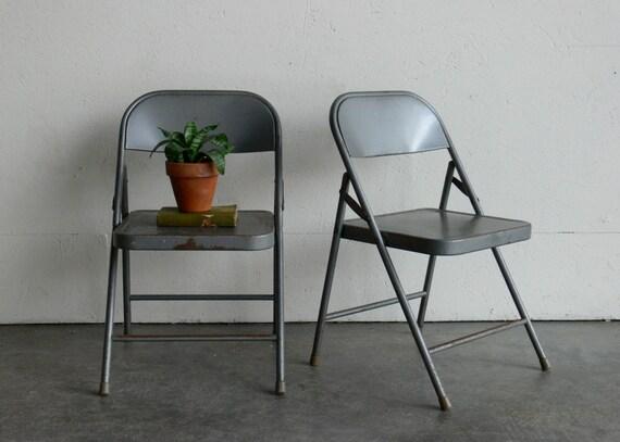 Vintage Metal Folding Children Chairs (Set of 2)