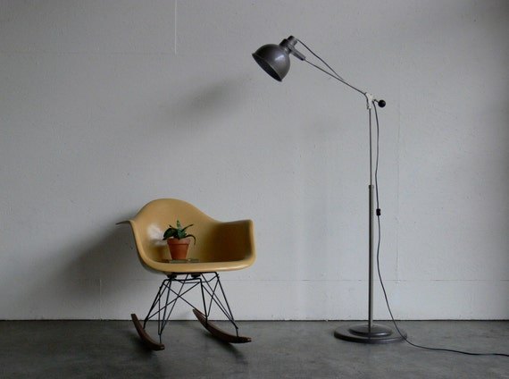 vintage mid century modern industrial floor lamp. Black Bedroom Furniture Sets. Home Design Ideas