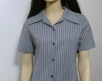 Vintage-Button Down Shirt-Butterfly Collar-Short Sleeve-Black & Grey