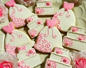 18  Decorated Sugar Cookies Wedding Dress Cake Bridal Shower favor