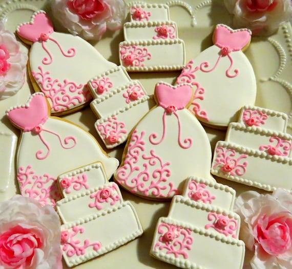 18 Decorated Sugar Cookies Wedding Dress Cake Bridal Shower