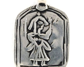 Antique Indian Amulet, Ethnic Tribal, Goddess Devi, or Hoi Mata Pendant, Himachal Pradesh, India, High Grade Silver,7 Grams