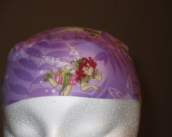 Purple Tinkerbell Chemo Cap, Skull Cap, Hats, Caps, Do Rag, girl, Hair Loss, Biker, Head Wrap,Helmet Liner, Handmade, Alopecia, Surgical Cap