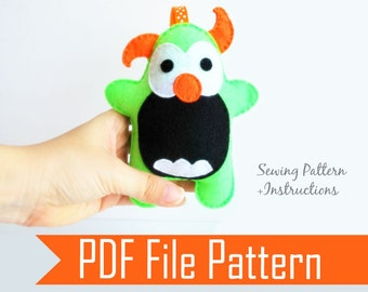 Monster Pattern, Monster Sewing Pattern, baby Plush Sewing Pattern, Pdf Pattern, Instant Download, A777