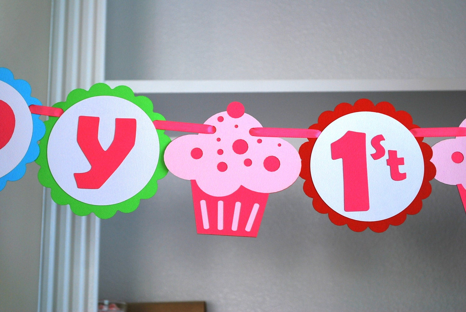 Cupcake Party Ideas: Die cut handmade Cupcake Banner by MariaPalitousa.com