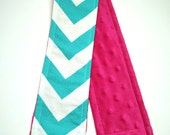 Camera Strap Cover CLOSE OUT - Teal Chevron with Fuchsia Minky