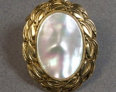 Blouse Cameo Clip Signed Germany Mother of Pearl with Antiqued Gold Tone Leaf Design Bezel Vintage