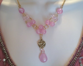 Pink Shimmer Pentacle Necklace, wiccan jewelry pagan jewelry wicca jewelry witch pentagram witchcraft goddess metaphysical magic handfasting