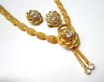 Vintage Twisted Gold Necklace Rhinestone Lariat Style Necklace Earrings Vintage Jewelry Set Gift for Her Gold Gift for Mom