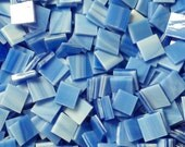 """100 1/2"""" Cobalt Blue and White Opal Stained Glass Mosaic Tiles"""