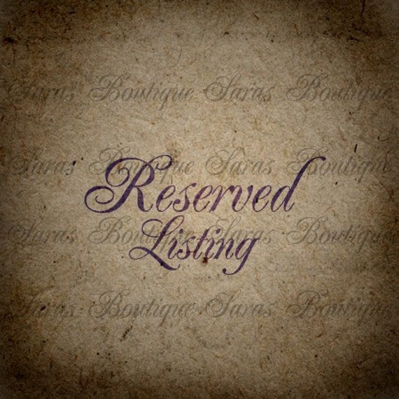 Reserved Listing For Jessie