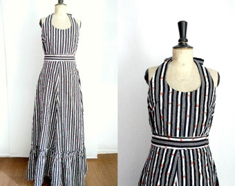 Black and White Maxi Dress  Vintage 1970