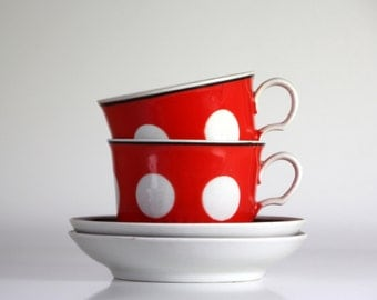 Back in USSR kitchen, polka dot tea or coffee set for two