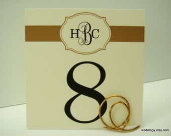 Wedding Table Numbers Personalized with Bride and Groom's Monogram Prepared in Colors to Coordinate with Your Reception Decor