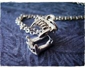 Silver Vampire Fangs Necklace - Silver Pewter Vampire Fangs Charm on a Delicate Silver Plated Cable Chain or Charm Only