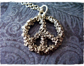 Silver Flower Peace Sign Necklace - Antique Pewter Flower Peace Sign Charm on a Delicate Silver Plated Cable Chain or Charm Only