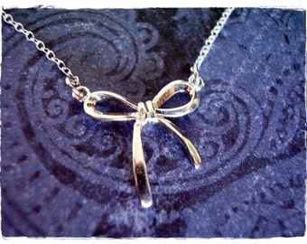 Small Silver Bow Necklace - Sterling Silver Bow Charm on a Delicate Sterling Silver Cable Chain or Charm Only