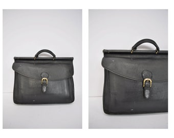 vintage leather bag belting satchel attache tote briefcase tote