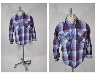 vintage plaid shirt vintage shirt vintage mens shirt flannel five brothers medium